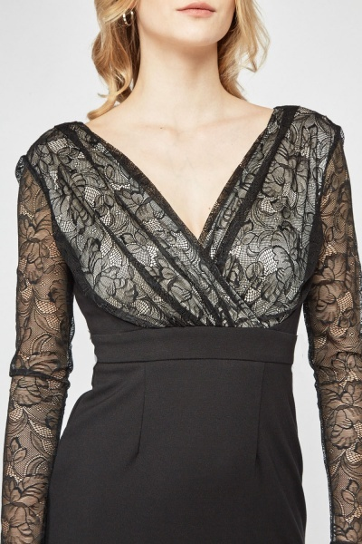 Lace Wrap Bodycon Dress