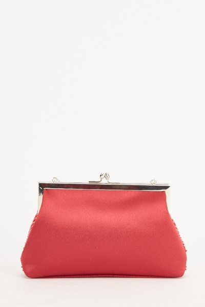 Embellished Sateen Clutch Bag