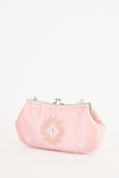 Light Pink Sateen Clutch Bag