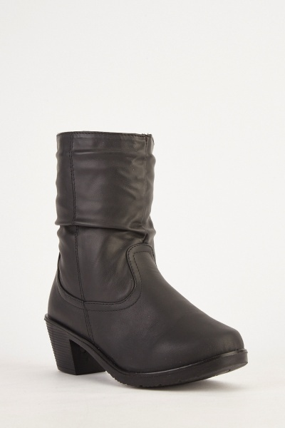 Stitched Trim Faux Leather Boots