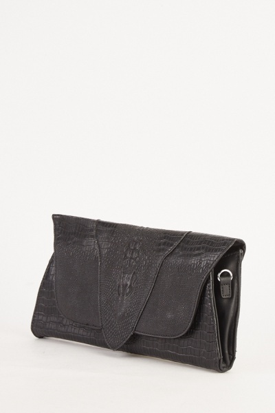 Front Flap Mock Croc Clutch Bag