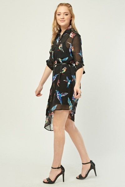 Sheer Bird Print Shirt Dress