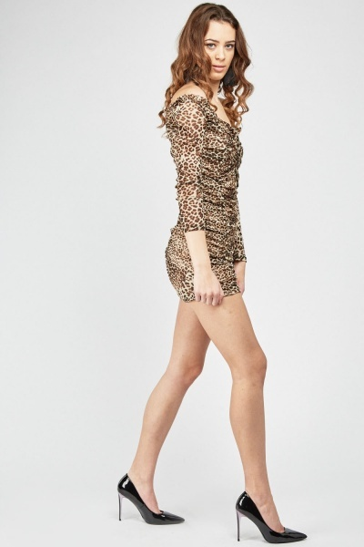 Leopard Print Mini Shirred Dress