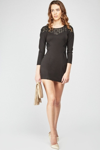 Mesh Spiral Cut Bodycon Dress