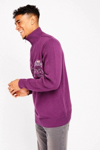 Embroidered Front Zip Up Jumper