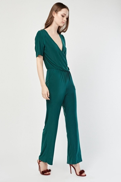 Forest Green Wrap Jumpsuit