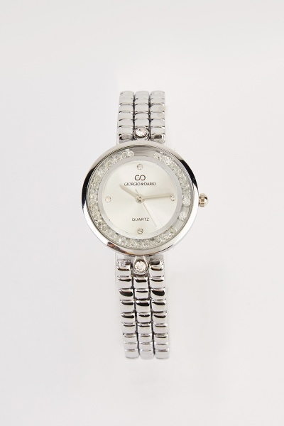 Gem Encased Round Face Watch