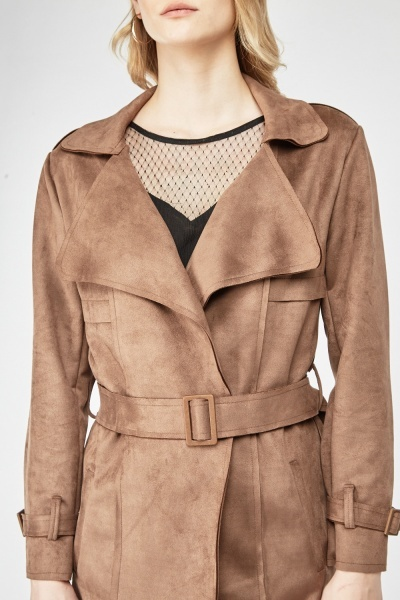 Brown Belted Suedette Trench Coat