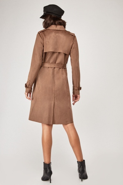 online shop best place Buy Authentic Brown Faux Suede Trench Coat