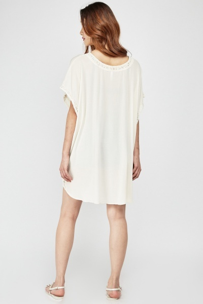 Crochet Insert Dip Hem Cover Up