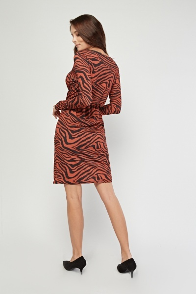 Plunge Animal Printed Wrap Dress