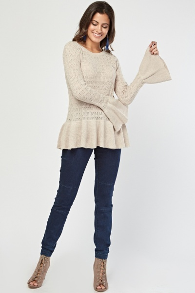 Perforated Peplum Knit Top