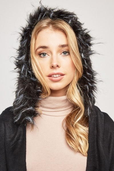 Faux Fur Trim Hooded Poncho