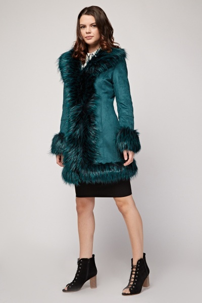 Faux Fur Trim Suedette Coat