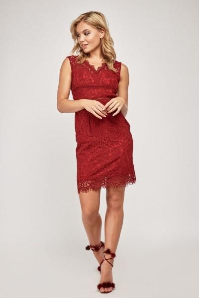 Open Back Lace Bodycon Dress