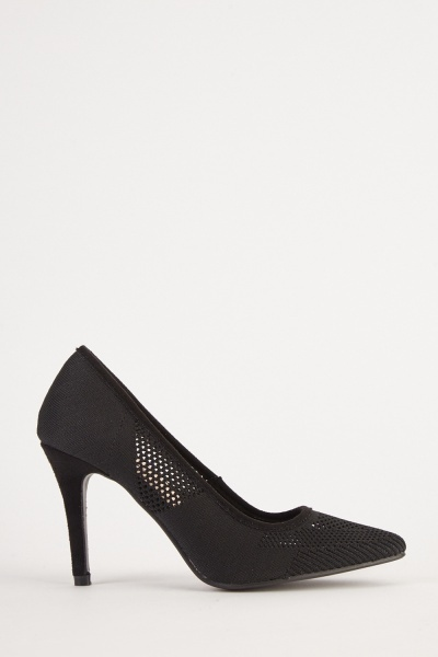 Perforated Knitted Court Heels