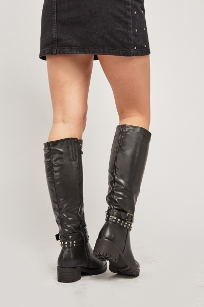 Black Buckle Studded Boots