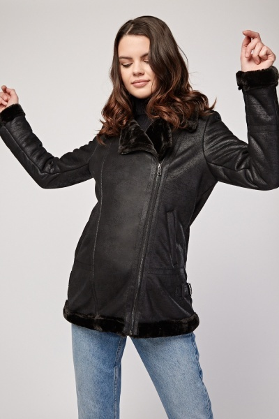 Black Faux Fur Trim Jacket