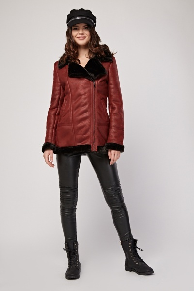 Maroon Fleece Lined Jacket