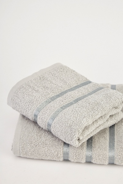 Set Of 2 Textured Light Grey Towels