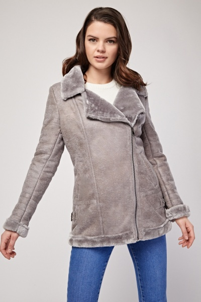 Faux Fur Trim Suedette Jacket