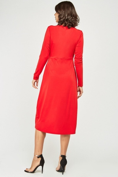 Red Midi Asymmetric Dress