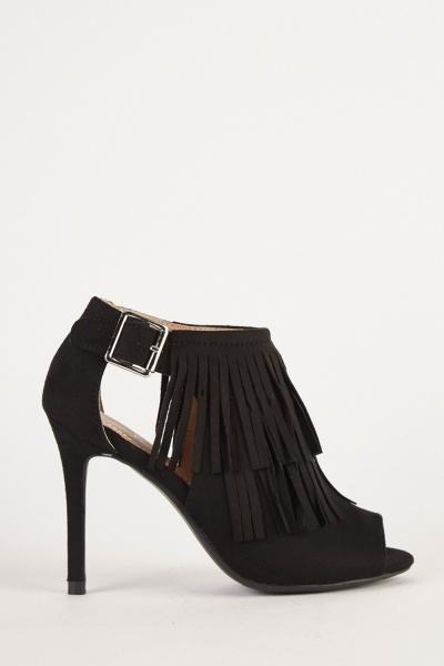 Faux Suede Fringed Heels