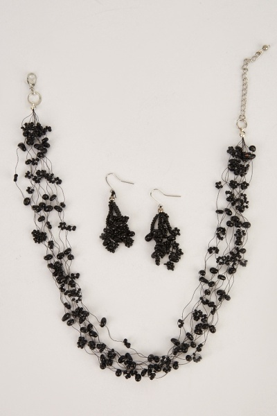 Beaded Wired Necklace And Earrings Set