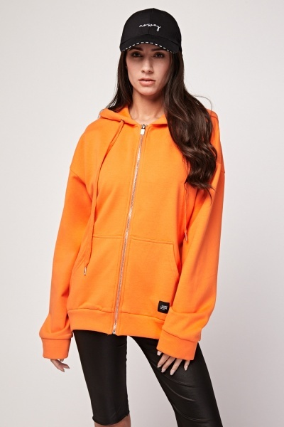 Casual Orange Zip Up Hoodie