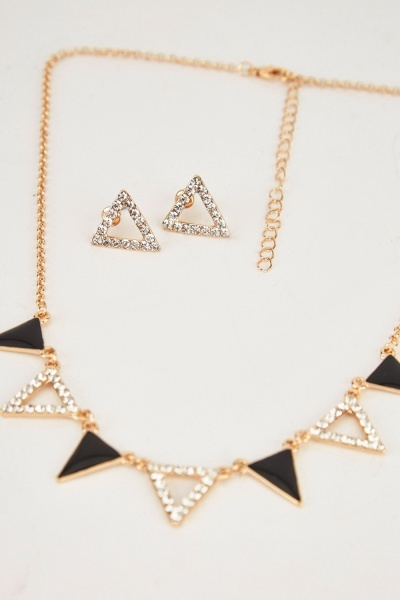 Cut Out Triangle Necklace And Earrings Set