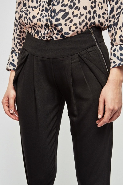 Double Zip Up Front Tapered Trousers