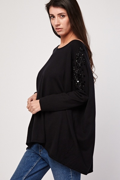 Embellished Contrast Knit Top