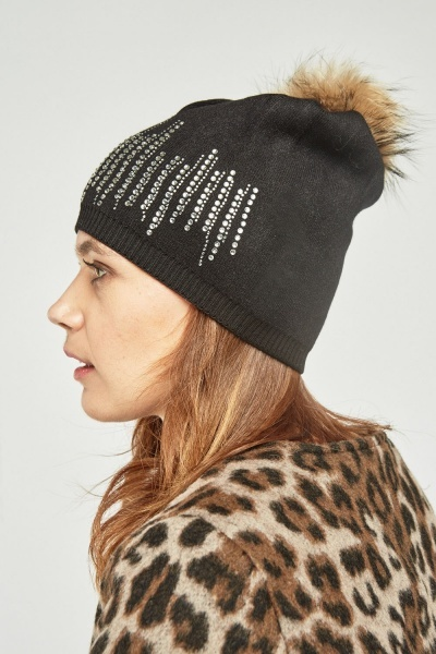 Embellished Ribbed Trim Beanie Hat