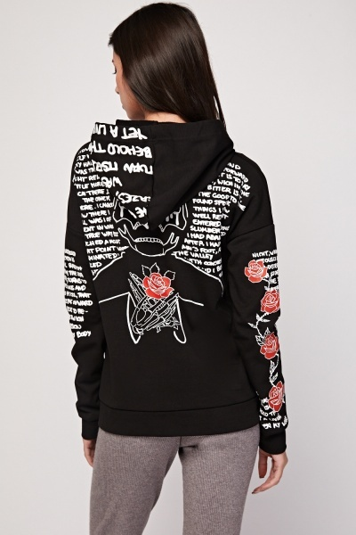 Graphic Printed Front Zip Up Hoodie