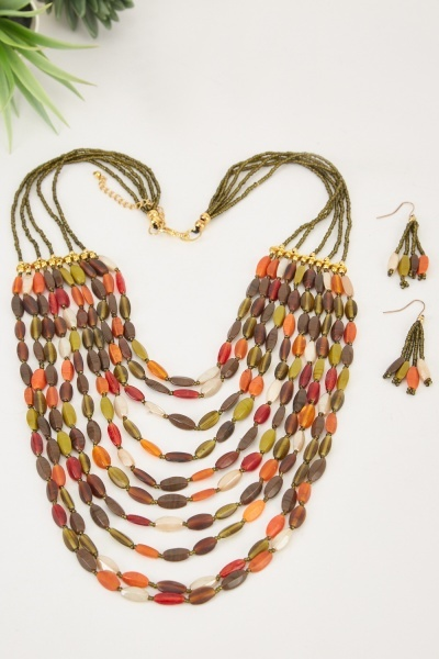Multi-Strand Tribal Beaded Necklace And Earrings Set