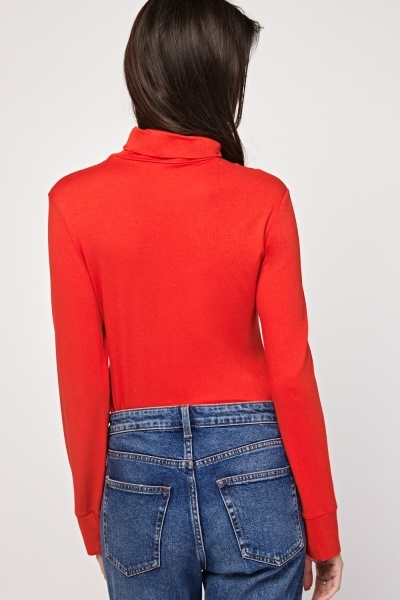 Roll Neck Plain Red Top