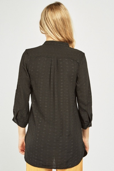 Embossed Sheer Tunic Blouse