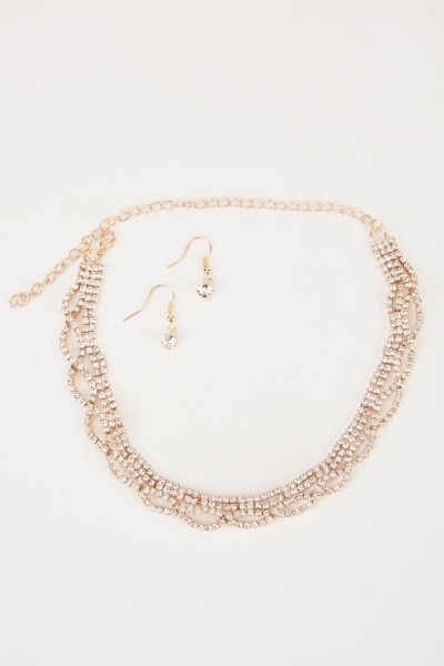Encrusted Choker And Earrings Set