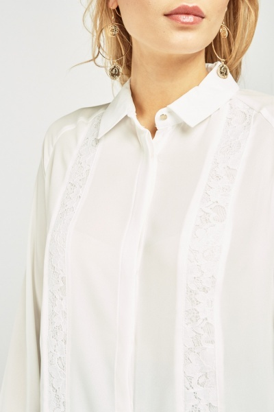 Lace Inserted Chiffon Blouse