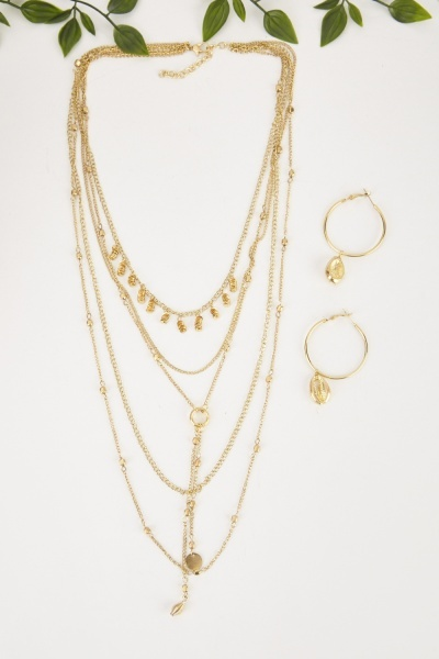 Multi Strand Necklace And Hoop Earrings Set