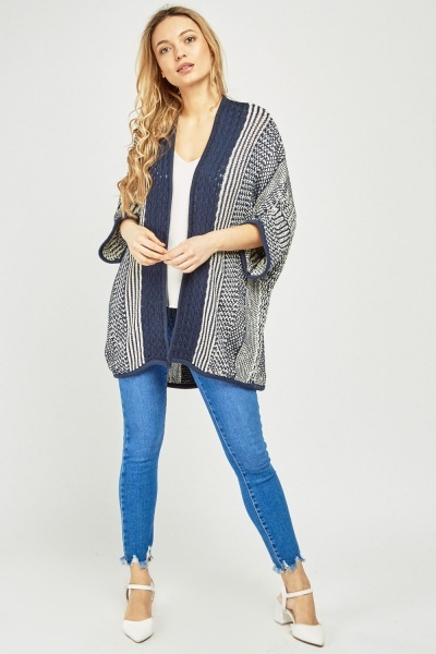 Open Front Knitted Slouchy Cardigan