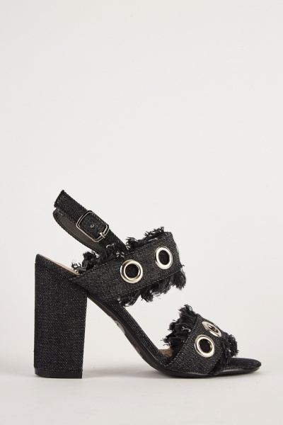 Raw Edge Denim Heel Sandals