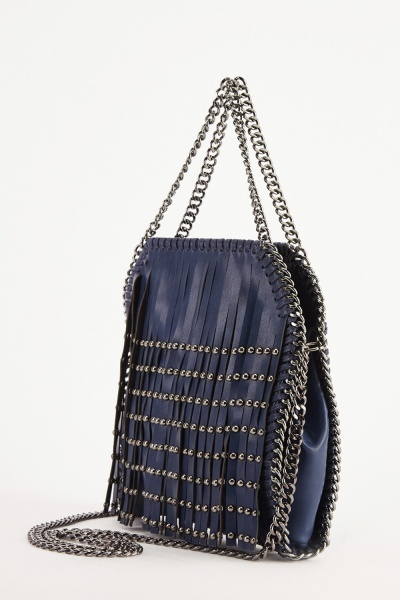 Studded Cut Out Fringed Bag