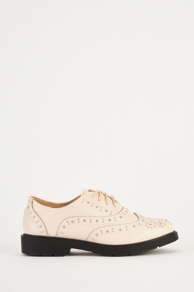 Studded Lace Up Oxford Shoes