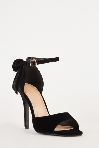 Velveteen Open Toe Pumps