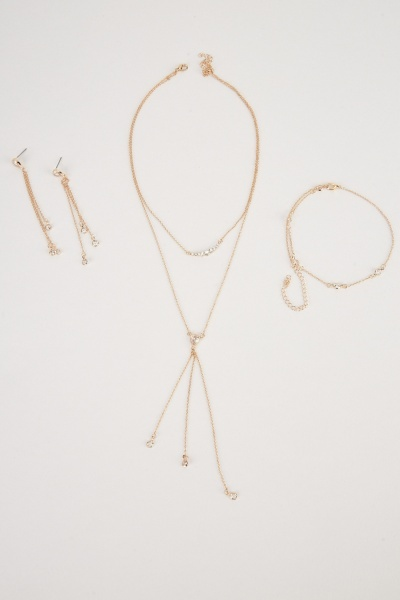 Chain Encrusted Necklace, Earrings And Bracelet Set