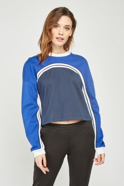 Curved Colour Block Sweat Top