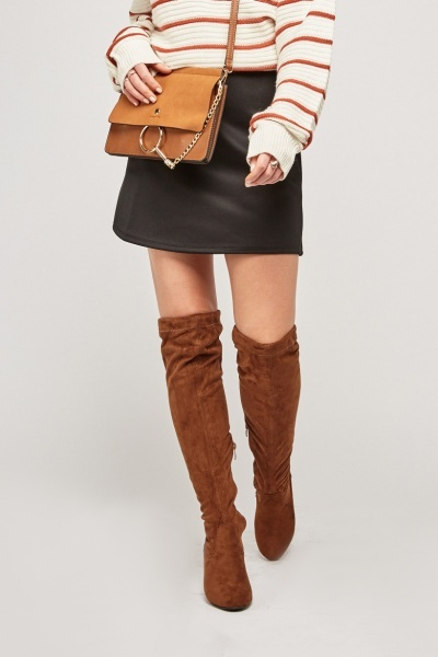 51c048c146a Encrusted Heel Over The Knee Boots - Black - Just £15