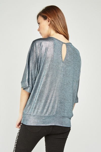 Metallic Batwing Sleeve Top
