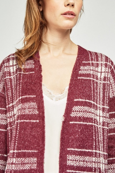 Open Front Plaid Knit Cardigan